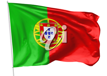 National flag of Portuguese Republic (Portugal) on flagpole flying in the wind isolated on white, 3d illustration