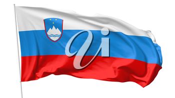 National flag of Republic of Slovenia on flagpole flying in the wind isolated on white, 3d illustration