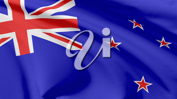 National flag of New Zealand flying in the wind, 3d illustration closeup view