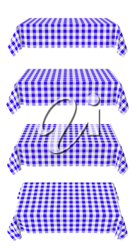 Set of rectangular tablecloth with blue checkered pattern isolated on white, horizontal front view, 3d illustration