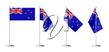 Small table flag of New Zealand on stand isolated on white, 3d illustrations set