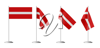 Small table flag of Latvia on stand isolated on white, 3d illustrations set