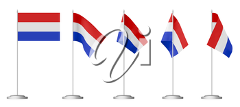 Small table flag of Netherlands on stand isolated on white, 3d illustrations set