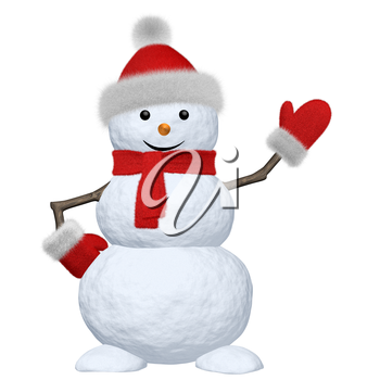 Cheerful snowman with red fluffy hat, scarf and mittens pointing to something 3d illustration