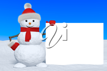 Cheerful snowman with blank white board in red fluffy hat, scarf and mittens on snow under blue sky, 3d illustration