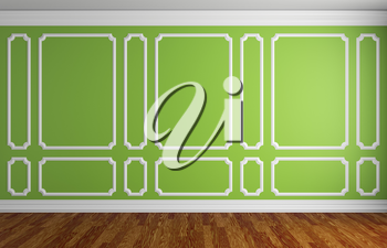 Simple classic style interior illustration - green wall with white decorative frame on the wall in classic style empty room with dark wooden parquet floor with white baseboard, 3d illustration interio