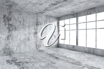 Abstract architecture concrete room interior: empty room corner with spotted dirty concrete walls, concrete floor, concrete ceiling and window with light from window, 3d illustration