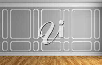 Simple classic style interior illustration - gray wall with white decorative frame on the wall in classic style empty room with wooden parquet floor with white baseboard, 3d illustration interior