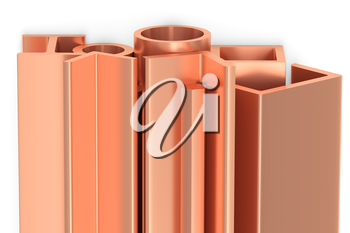 Metallurgical industry non-ferrous industrial products - group of stainless rolled copper metal products (profiles, pipes, girders, bars, balks and armature) on white industrial 3D illustration