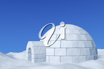 Winter north polar snowy landscape - eskimo house igloo icehouse made with white snow on the surface of snow field under cold north blue sky closeup 3d illustration