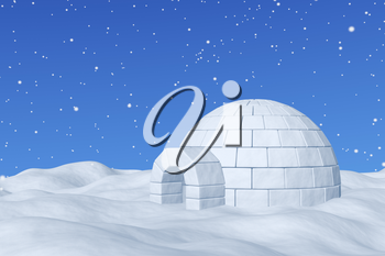 Winter north polar snowy landscape - eskimo house igloo icehouse made with white snow on the surface of snow field under cold north blue sky with snowfall 3d illustration