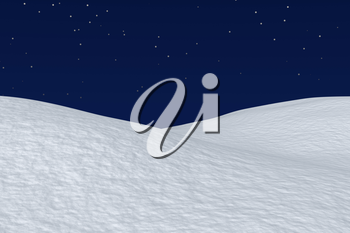 White snowy field with hills and smooth snow surface under dark blue night sky with stars, winter snow background 3d illustration