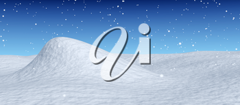 White snowy hill unred snowfall and bright winter blue sky, winter snow background, 3d illustration