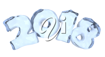 New Year 2018 icy text written with numbers made of clear blue ice, Happy New Year 2018 winter icy symbol 3d illustration isolated on white