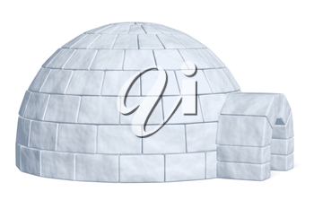 Igloo icehouse isolated on white side view background three-dimensional illustration