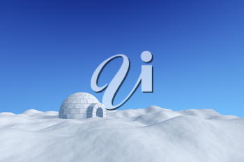 Winter north polar snowy landscape - eskimo house igloo icehouse made with white snow on the surface of snow field under cold north blue sky, 3d illustration