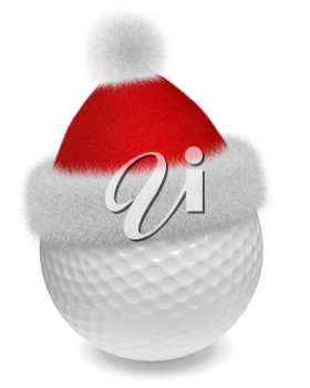 New Year and Christmas holidays sport leisure creative concept: white golfball in Santa Claus fluffy red hat with red and white fur isolated on white backgroung 3d illustration