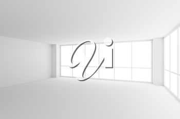 Business architecture white colorless office room interior - two large windows in empty white business office room with white floor, ceiling, walls and empty space, 3d illustration