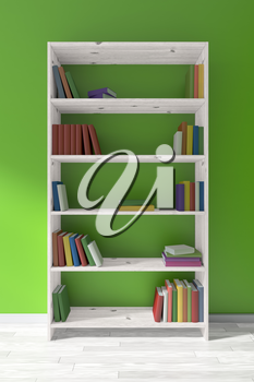 White wooden bookcase on white wooden parquet floor about green wall with many different books on bookshelves, 3D illustration