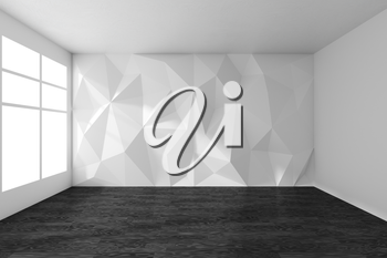 White empty room interior with wall with rumpled triangular geometric surface with sun light from window, with black wooden parquet floor and ceiling, 3d illustration