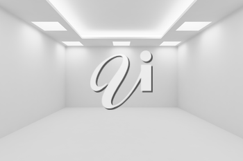 Abstract architecture white room interior - empty white room with white wall, white floor, white ceiling with square ceiling lamps and hidden ceiling lights and empty space, 3d illustration