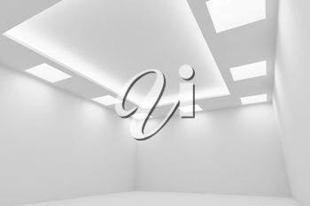 Abstract architecture white room interior - empty white room with white wall, white floor, white ceiling with square ceiling lamps and hidden ceiling lights wide diagonal view, 3d illustration