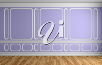 Violet wall with white decorative moldings elements on wall in classic style empty room with wooden parquet floor and white baseboard, classic style architectural background 3d illustration interior