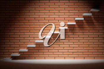 Business rise, forward achievement, progress way, success and hope creative concept - Ascending stairs of rising staircase in dark empty room with red brick wall with spot light, 3d illustration