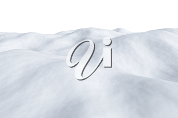 White snowy field with hills and smooth snow surface isolated  winter arctic minimalist 3d illustration