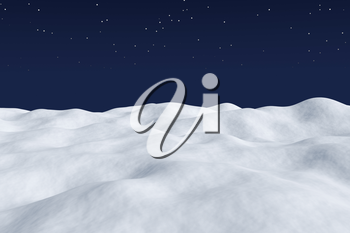 White snow field with hills and smooth snow surface under bright clear winter night north sky with bright stars arctic winter minimalist landscape background 3d illustration