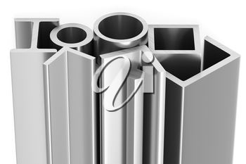 Metallurgical industry products - group of rolled steel metal products (girders, pipes, profiles, bars, balks and armature) on white, industrial 3D illustration