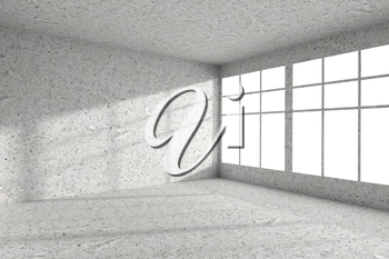 Abstract architecture spotted concrete room interior: empty room corner with dirty spotted concrete walls, concrete floor, concrete ceiling and windows with light from window, 3d illustration