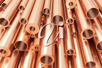 Metallurgical industry production and non-ferrous industrial products abstract illustration - many different various sized stainless metal shiny copper pipes, abstract background, 3D illustration