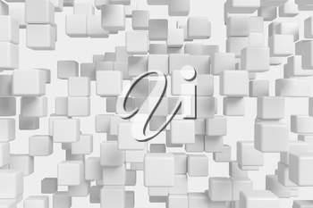 Abstract white graphic background made of flying white cubes in front view, 3d illustration for different conceptual graphic design projects