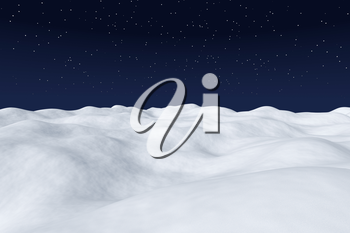 White snow field with hills and smooth snow surface under bright clear winter night north sky with bright stars arctic winter minimalist landscape background, 3d illustration.