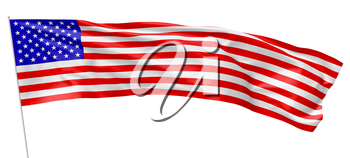 Long flag of United States of America with stars and stripes with flagpole flying and waving in the wind isolated on white, long flag, 3d illustration