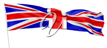 National flag of United Kingdom of Great Britain on flagpole flying and waving in wind isolated on white long flag, 3d illustration.