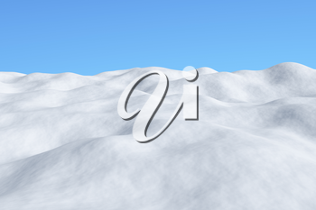 White snowy field with hills and smooth snow surface under bright clear winter blue sky arctic winter minimalist landscape 3d illustration