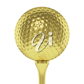 Golf sport competition winning and golf trophy concept: golden yellow shiny golf ball on tee closeup isolated on white background 3d illustration