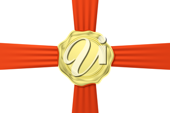 Gold sealing wax seal stamp without sign on red ribbon cross isolated on white background, 3d illustration