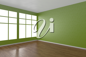 Corner of green empty room with windows and wooden parquet floor, 3D illustration
