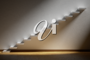 Business rise, forward achievement, progress way, success and hope creative concept: Ascending stairs of rising staircase in dark empty room with light with parquet floor and plinth, 3d illustration