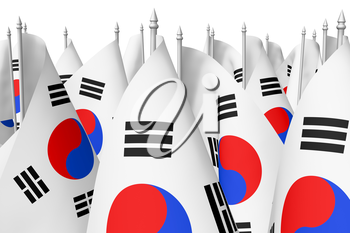 Many small flags of South Korea republic closeup view isolated on white background, 3d illustration