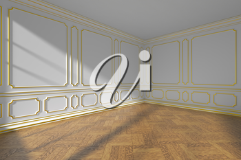 White empty room interior with sunlight from window, golden decorative classic style molding on walls, wooden parquet floor and white baseboard, wide angle, 3d illustration