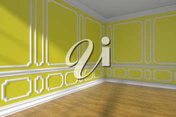 Empty yellow room corner interior with sunlight from window, decorative classic style molding on walls, wooden parquet floor and white baseboard, 3d illustration