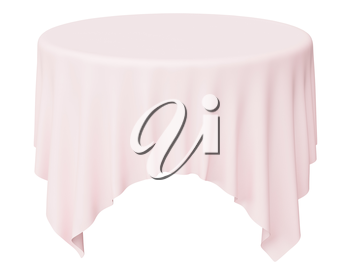Round pink tablecloth with angles isolated on white, 3d illustration