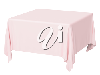 Square pink tablecloth isolated on white, 3d illustration