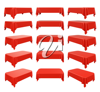 Rectangular red tablecloth with rounded corners set, isolated on white, 3d illustration.