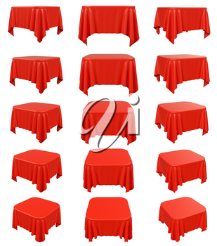 Red square table cloth with rounded corners, set isolated on white, 3d illustration collection