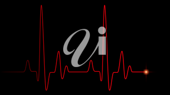 Heart pulse red line on black, healthcare medical background with heart cardiogram, cardiology concept pulse rate diagram illustration